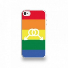 Coque  iPhone 4/4S Silicone motif Symbole Homme Drapeau Gay