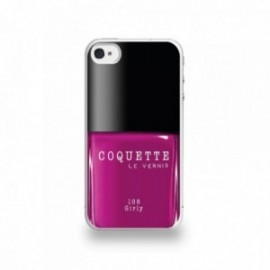 Coque  iPhone 4/4S Silicone motif Vernis à Ongle Rose Girly