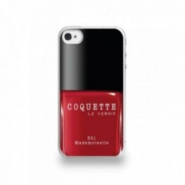 Coque  iPhone 4/4S Silicone motif Vernis à Ongle Rouge Mademoiselle
