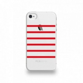 Coque  iPhone 4/4S Silicone motif Marinière Rouge