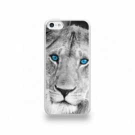 Coque  iPhone 5C Silicone motif Lionne aux Yeux Bleus