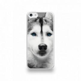 Coque  iPhone 5C Silicone motif Husky aux Yeux Bleus