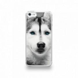 Coque  iPhone 5/5S/SE Silicone motif Husky aux Yeux Bleus