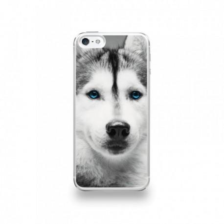 coque iphone 5 5s se silicone motif husky aux yeux bleus