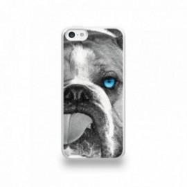 Coque  iPhone 5C Silicone motif Bulldog aux Yeux Bleus