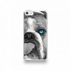 Coque  iPhone 5/5S/SE Silicone motif Bulldog aux Yeux Bleus