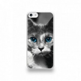 Coque  iPhone 5C Silicone motif Chat aux Yeux Bleus