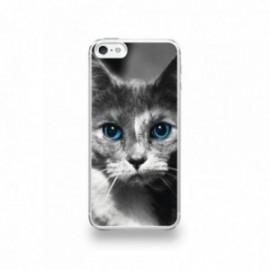 Coque  iPhone 5/5S/SE Silicone motif Chat aux Yeux Bleus