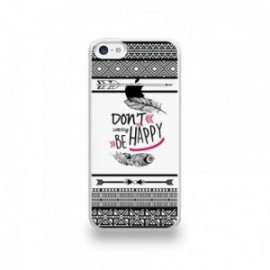 Coque  iPhone 5C Silicone motif Don't Worry Be Happy Pattern Noir