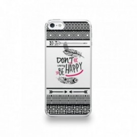 Coque  iPhone 5/5S/SE Silicone motif Don't Worry Be Happy Pattern Noir