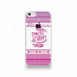 Coque  iPhone 5C Silicone motif Don't Worry Be Happy Pattern Rose