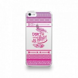 Coque  iPhone 5/5S/SE Silicone motif Don't Worry Be Happy Pattern Rose