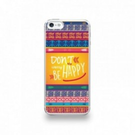 Coque  iPhone 5/5S/SE Silicone motif Don't Worry Be Happy Fleche