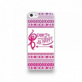 Coque  iPhone 5C Silicone motif Don't Worry Be Happy Rose Fond Blanc