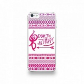 Coque  iPhone 5/5S/SE Silicone motif Don't Worry Be Happy Rose Fond Blanc