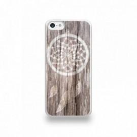 Coque  iPhone 5C Silicone motif Attrape Rêves Bois