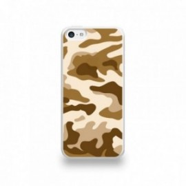 Coque  iPhone 5C Silicone motif Camouflage Marron