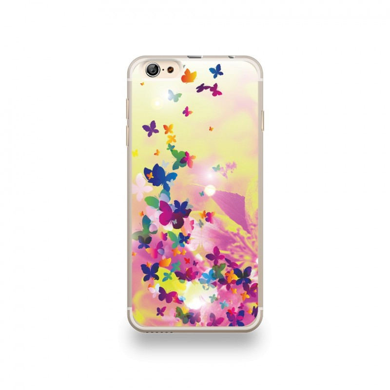 coque iphone 6 plus 6s plus silicone motif fleur pop art et ses papillons multicolor