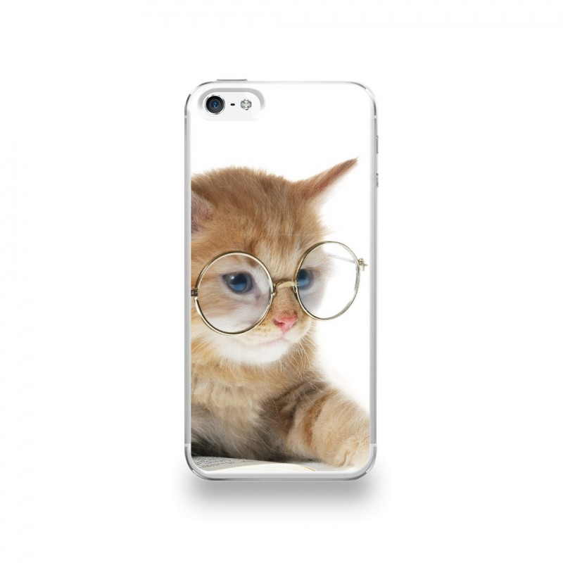 coque iphone 5 5s se silicone motif grand chat a lunettes