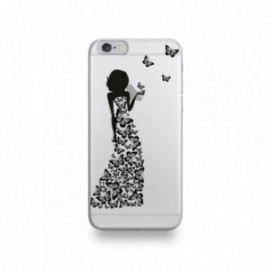 Coque  iPhone 6/6S Silicone motif Silhouette Femme Papillons