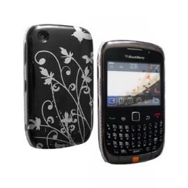 Coque Blackberry 8520 / 9300 noire fleurs