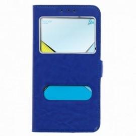 Etui Lenovo K5 folio double fenêtre bleu