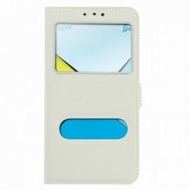 Etui Lenovo K5 folio double fenêtre blanc