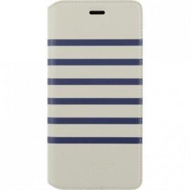 Etui Huawei P10 Jean Paul Gaultier folio Marinière blanche et bleue