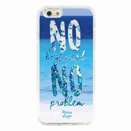 Coque iphone 6 / 6s no boyfriend no problem paillettes bleu