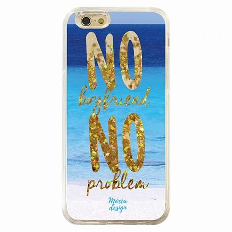 Coque iphone 6 / 6s no boyfriend no problem paillettes Or