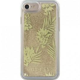 Coque iPhone 6 / 6s / 7 Guess liquide paillettes dorées et fleurs