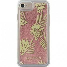 Coque iPhone 6 / 6s / 7 Guess liquide paillettes roses et fleurs