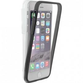 Coque iPhone 6 / 6S / 7 intégrale 360° Colorblock transparente et noire