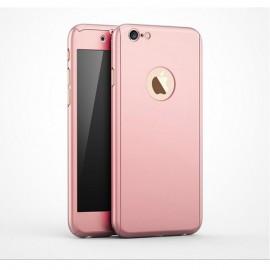 Coque iPhone 7 intégrale 360° rose avec verre trempé