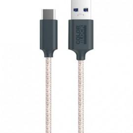 Câble USB C tissé rose de 2 mètres