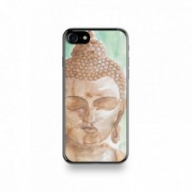 Coque Iphone X motif Buddha Marron Fond Vert