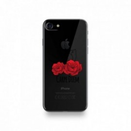 Coque Iphone X motif Carpe Diem Rose Rouge Et Hirondelle