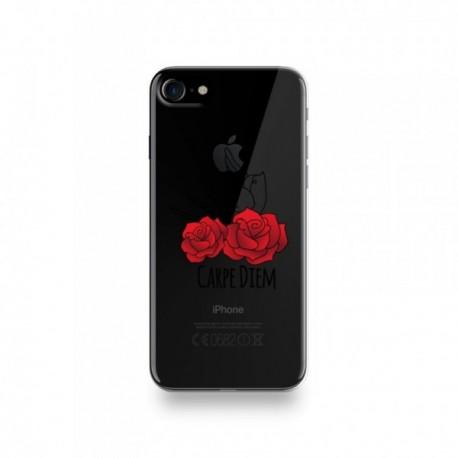 Coque Iphone X motif Carpe Diem Rose Rouge Et Hirondelle