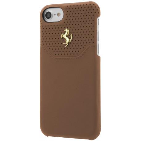 Coque iphone 7 Ferrari Lusso cuir camel
