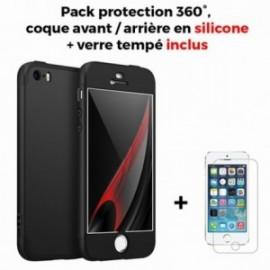 Coque Iphone 5/5s silicone 360° + film en verre trempé