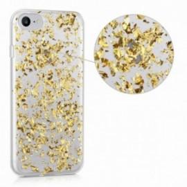 Coque IPHONE 5/5S/SE Gel effet feuille d'or doré