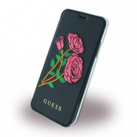 Etui iPhone X / XS folio Guess Flower noir