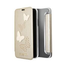 Etui iPhone X folio Guess papillons beige doré