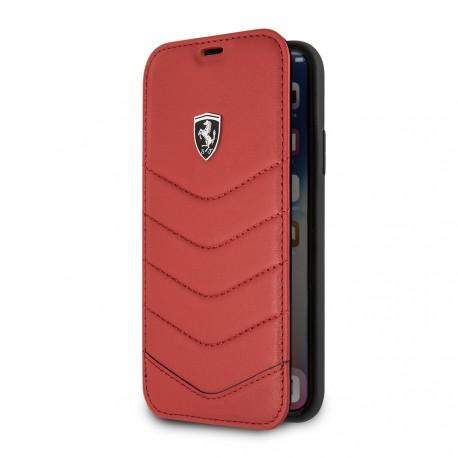 Etui iphone X Ferrari Heritage folio cuir rouge