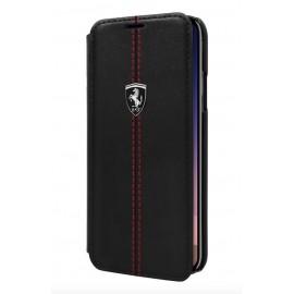 Etui iphone X Ferrari Heritage folio cuir noir