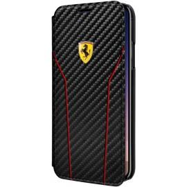 Etui iphone X Ferrari Scuderia folio carbone noir