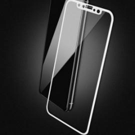 Film Iphone X en verre trempé incurvé contour blanc