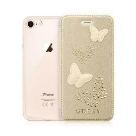 Etui iPhone 7 / iphone 8 folio Guess papillons beige doré