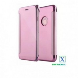 Etui Iphone X cristal view rose