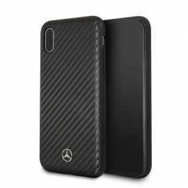 Coque iPhone X Mercedes Benz aspect carbone noir